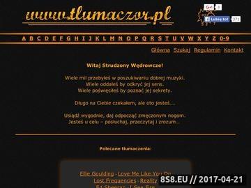 Zrzut strony Tlumaczor.pl - tłumaczenia piosenek