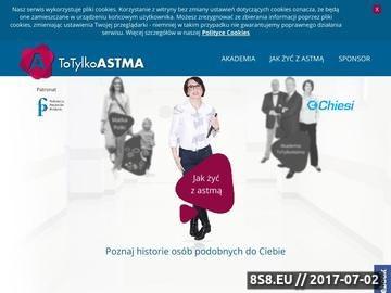 Zrzut strony Informacje medyczne o astmie