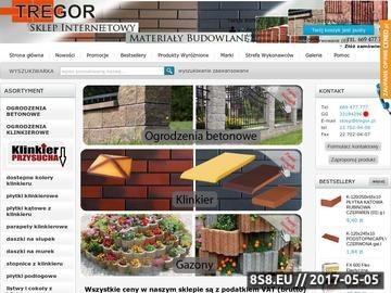 Zrzut strony Tregor sklep internetowy - klinkier, ogrodzenia, gazony i kominy