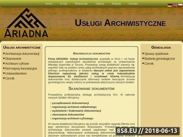 Zrzut strony Przedsiębiorstwo Usług Archiwistycznych ARIADNA