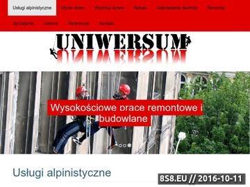 Zrzut strony Uniwersum specjalizuje się w usługach alpinistycznych.