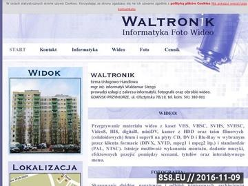 Zrzut strony WALTRONIK.COM Przegrywanie filmów 8mm i kaset VHS na DVD.