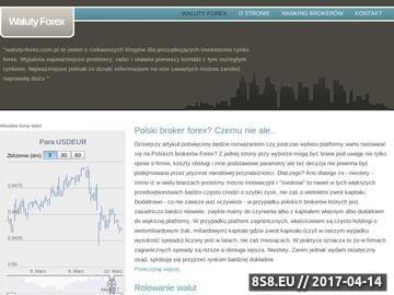 Zrzut strony Witryna o walutach Forex
