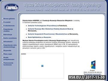 Zrzut strony Uczelnie Warszawa, Szkoła wyższa Warszawa WSPiRR w Falentach