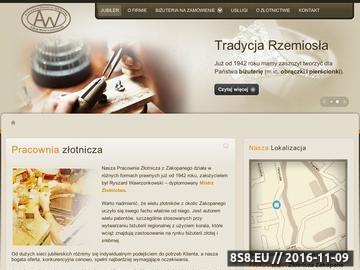 Zrzut strony Jubiler Zakopane - złotnik, pracownia i obrączki
