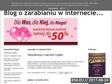 Zrzut strony Blog o zarabianiu pieniędzy przez internet