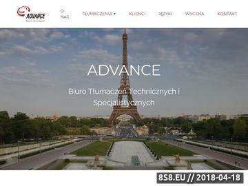 Zrzut strony Advance Biuro Tłumaczeń Specjalistycznych
