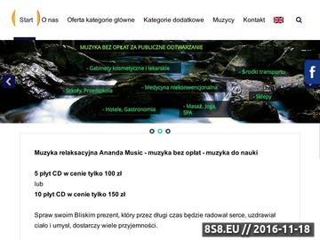 Zrzut strony Ananda Music - Muzykoterapia, Muzyka Relaksacyjna, Joga, SPA