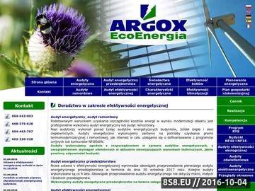 Zrzut strony Argox Eco Energia - Świadectwa Energetyczne, Audyty, Certyfikaty