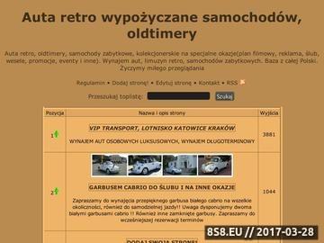 Zrzut strony Autaretro.toplista.pl - Baza firm oferujących wynajem samochodów zabytkowych