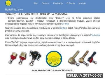 Zrzut strony BeGeF Malbork. Produkcja drążków, przegubów, końcówek drążków.