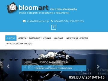 Zrzut strony Studio BloomArt - Fotografia produktowa, przedmiotów na strony www, oraz Ślubna