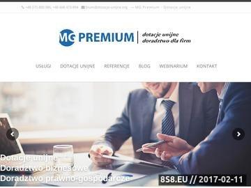 Zrzut strony MG Premium - pozyskiwanie dotacji unijnych dla firm