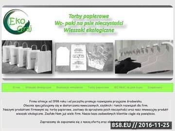 Zrzut strony Ekograj oferuje zestawy do sprzątania po psie, torby papierowe