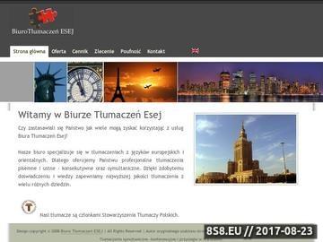 Zrzut strony Biuro Tłumaczeń ESEJ