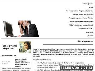 Zrzut strony Pozyskuje dotacje unijne oraz przygotowuje biznes plany