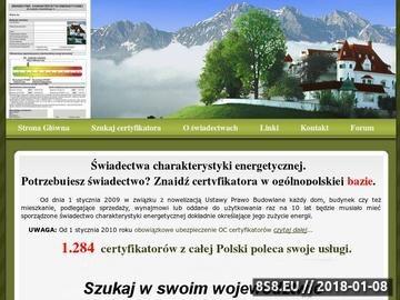 Zrzut strony Świadectwo energetyczne - ogólnopolska baza certyfikatorów