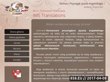 Zrzut strony Tłumaczka z Warszawy