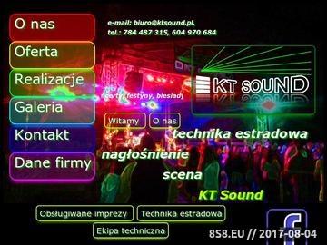 Zrzut strony KT Sound - obsługa techniczna imprez pod kątem nagłośnienia, sceny i transportu.