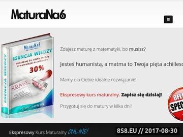 Zrzut strony Kursy maturalne z matematyki przez internet