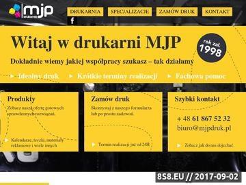 Zrzut strony MJP Drukarnia - Poznań. Ulotki, plakaty, foldery, notesy. Introligatornia.