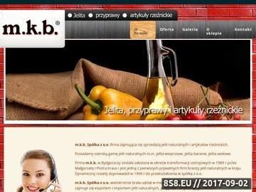 Zrzut strony M.k.b. Spółka z o.o. - jelita naturalne, przyprawy, art. rzeźnickie