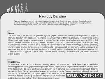 Zrzut strony Nagrody Darwina