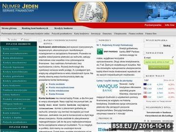 Zrzut strony Numer Jeden - Serwis finansowy, banki online, ranking banków