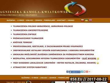 Zrzut strony Tłumacz przysięgły ukraińskiego