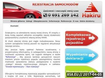 Zrzut strony Hakiru - Rejestracja samochodu lub motocykla w tydzien wrocław
