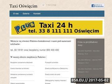 Zrzut strony Taxi Oświęcim i taxi muzeum - tanie taxi