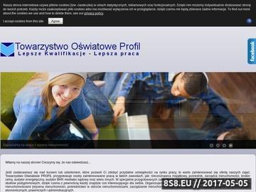 Zrzut strony Towarzystwo Oświatowe Profil - specjalista ds. BHP kursy