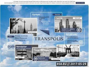 Zrzut strony Tłumaczenia w języku angielskim z pomocą firmy Transpolis - Toruń