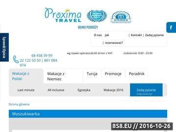 Zrzut strony Biuro Podróży Proxima Travel