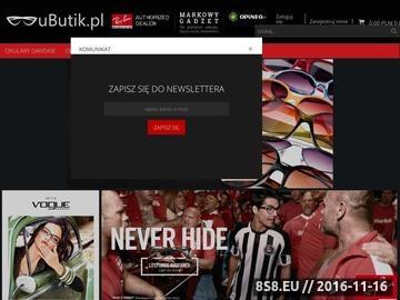 Zrzut strony Sklep Ubutik.pl oferuje okulary znanych marek takich jak Ray-Ban