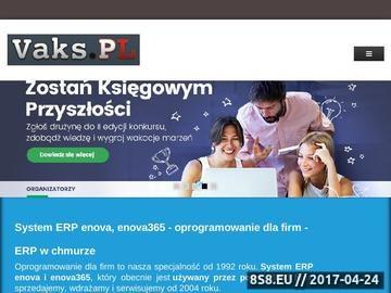 Zrzut strony Vaks.PL oferuje innowacyjny system ERP enova